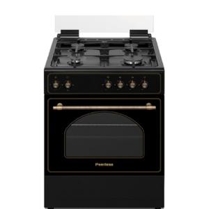 """תנור כפרי רטרו משולב גז 60 ס""""מ שחור פירלס דגם PR-6060 BLK"""