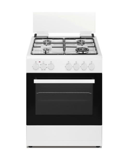 """תנור משולב כיריים גז 60 ס""""מ לבן + תבניות סונאב PR-6006 WH"""