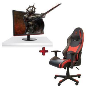 """כיסא גיימינג מקצועי SPARKFOX GC80F + מסך מחשב """"AOC G2778VQ 27"""